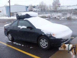 Snow covered car in Evanston, WY