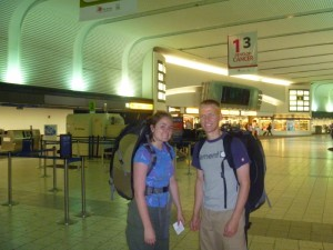Christy and Aaron in the Columbus, OH airport