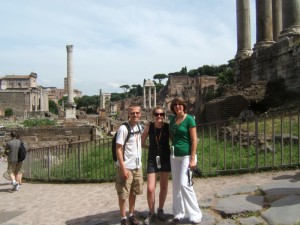 Aaron, Christy and Aaron's mom in the Roman Forum