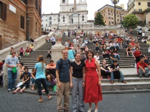 Aaron, Christy and Aaron's mom in front of the Spanish Steps