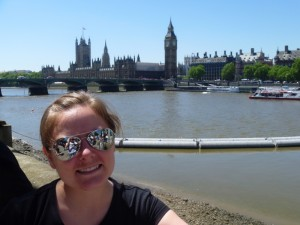 Christy in from of Big Ben and Parliament