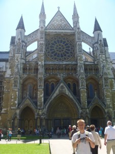 Aaron in front of Westminster Abbey