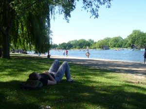 Christy napping in Hyde Park