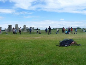 Christy napping at Stonehenge