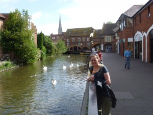 Christy with swans in Salisbury