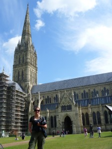 Christy in front of Salisbury Cathedral