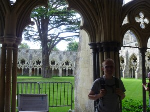 Aaron in fron of the cloisters at Salisbury Cathedral