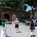 Christy, Mom, and Dad walking by the aqueduct