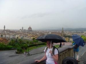 Christy overlooking Florence at Piazza Michaelangelo