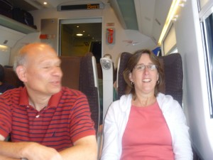Aaron's mom and dad on a train to Venice