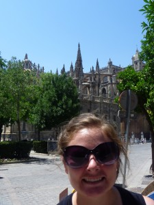Christy in front of the Seville Cathedral