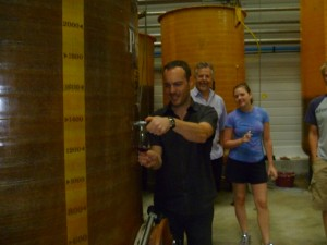 Tasting wine from the tank