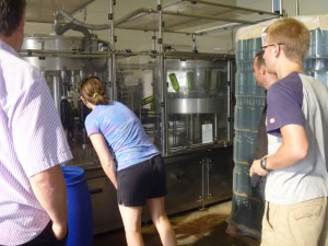 Watching wine get bottled