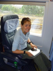 Christy in a first class train