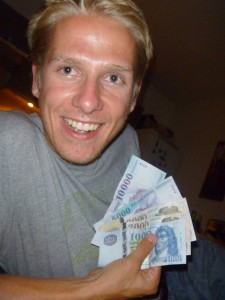 Aaron with a fist full of Forints (~90 US Dollars)