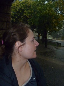 Christy waiting for the rain to slow down in Budapest