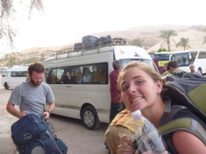 Christy getting ready to ride the shared taxi to Cairo