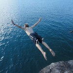 Aaron cliff diving in Malawi