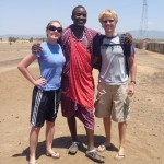 Christy and Aaron with the Maasai warrior