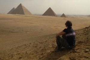 Christy with the pyramids