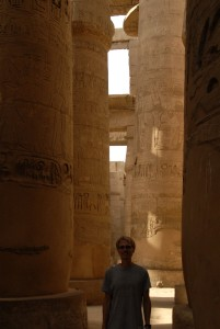 Aaron wandering around the hypostyle hall in Temple of Karnak