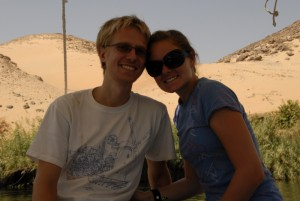 Aaron and Christy on the felucca boat