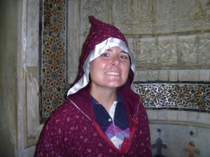 Hooded Christy in a mosque