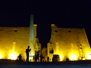 Karen taking pictures at the Luxor Temple