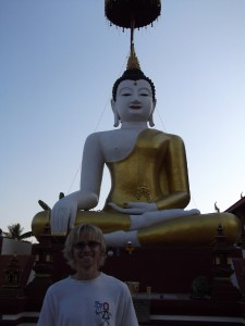Aaron and a large Buddha statue