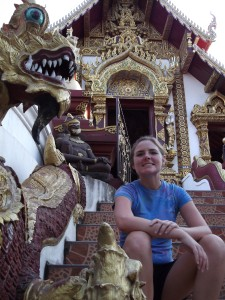 Christy at a Buddhist temple
