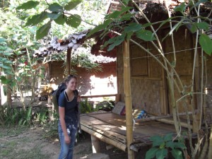Christy at our bamboo hut