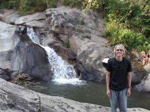 Aaron at a waterfall