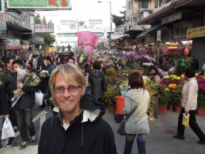 Aaron at the flower market
